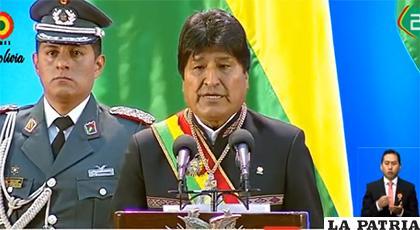 Presidente Evo Morales durante su discurso en Beni /BTV