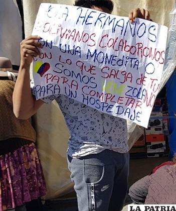 Venezolanos llegaron a Oruro para pedir ayuda /LA PATRIA /ARCHIVO