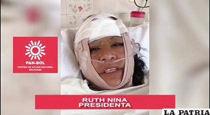 La candidata se dirigió a sus militantes desde la cama del hospital /CAPTURA VIDEO PAN-BOL