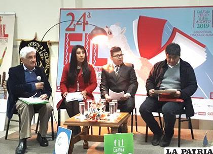 Presentación del libro de La Frater en la FIL 2019 en La Paz /MCyT