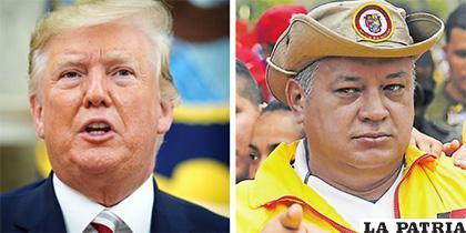 Presidente de Estados Unidos y al lado izquierdo representante del chavismo /ELTIEMPO.COM