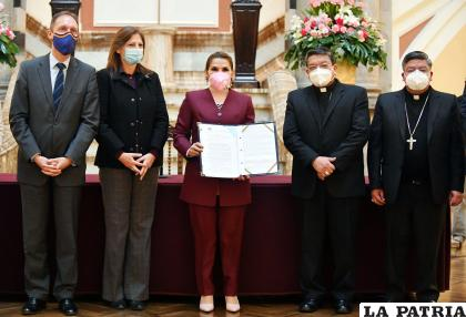 Jeanine Áñez luego de la promulgación de la ley 1297 /ABI
