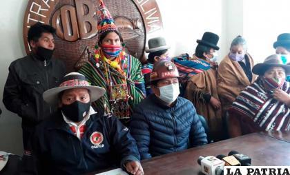 Durante la conferencia de prensa de la COB y Pacto de Unidad /erbol.com
