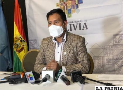 El ministro de Salud y Deportes, Jeyson Auza, en conferencia de prensa /AHORA EL PUEBLO