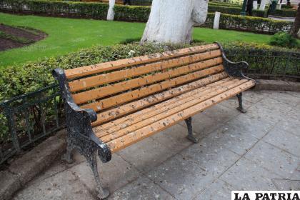 Excrementos de paloma cubren uno de los asientos de la Plaza Castro y Padilla /LA PATRIA
