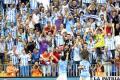 El Hamdaoui, del Málaga, celebra el tercer gol de su equipo