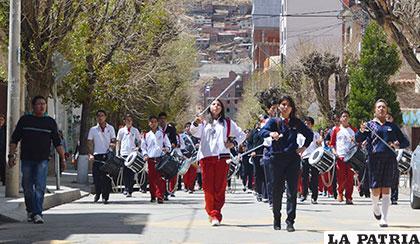 Recorrido de ensayo por las calles de Oruro