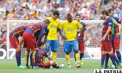 Messi se lesionó en el partido frente al Villarreal /AS.COM