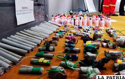 Explosivos decomisados a cooperativistas en sus recientes movilizaciones /ANF