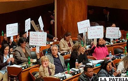 Oposición escuchó informe de ministros con pancartas en mano /ANF