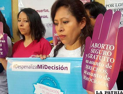Activistas muestran carteles que apoyan la despenalización del aborto