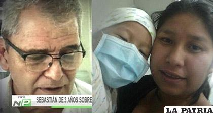 A la izquierda el médico que operó a Sebastián, quien aparece junto a su madre /Kandire.bo
