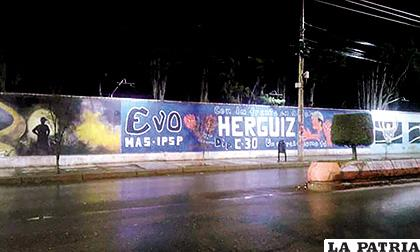 El mural que generó bastante polémica por ser pintado con propaganda electoral /RR.SS.