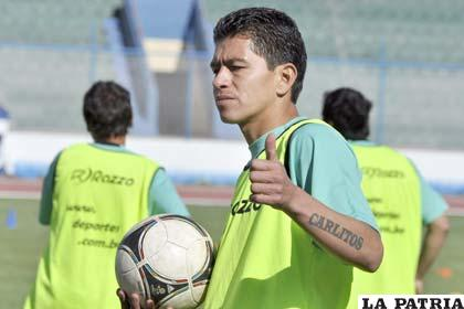 Carlos Saucedo ayer volvió a entrenar en San José
