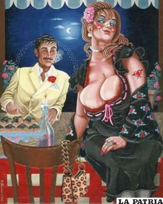 Los proxenetas viven del trabajo de las prostitutas, pintura de Aurelio Pernice