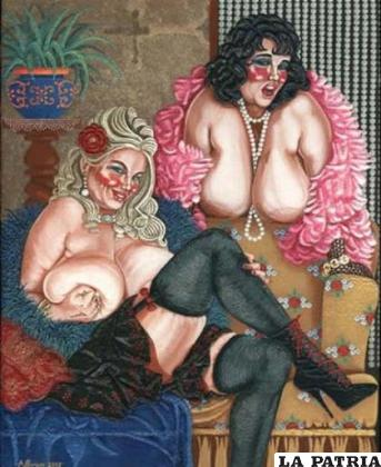 La prostitución es el oficio más antiguo de la humanidad, pintura de Aurelio Pernice