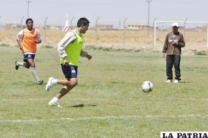 Ignacio García en el entrenamiento de ayer