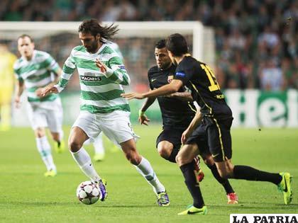 Una acción de la victoria de Barcelona sobre Celtic: 0-1