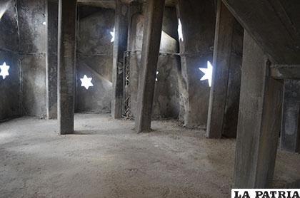 Uno de los niveles inconclusos de la parte interna del monumento a la Virgen del Socavón