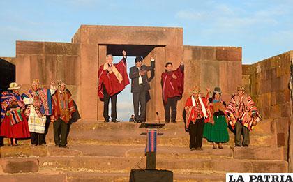 Morales celebró en Tiahuanaco el récord de permanencia en el Gobierno /ABI.BO