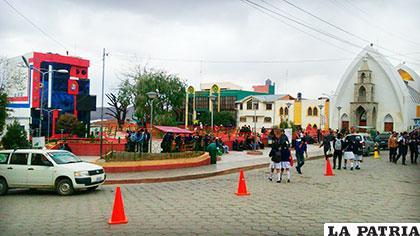 La plaza 6 de Agosto de Llallagua