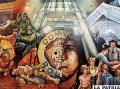 Es el interesante mural de Comibol, pintado por  los artistas William Luna y Jesús Callizaya. Sobresale en el ángulo superior derecho una alusión al matutino LA PATRIA. Esta publicación es un homenaje a la entidad estatal minera