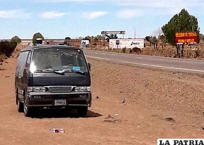 El vehículo se encontraba al lado del camino