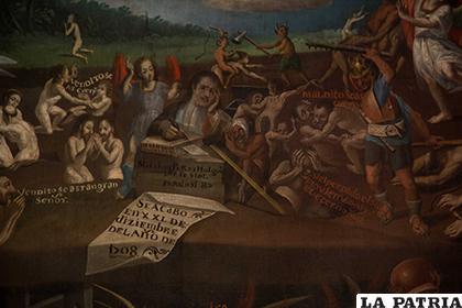 El juicio final - detalle en el que aparece el pintor