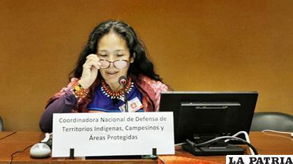 Ruth Alipaz Cuqui, vocera de la delegación de la sociedad boliviana ante la ONU /ANF