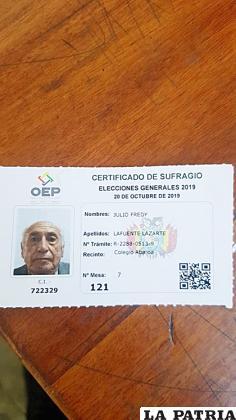 El anciano que falleció después de emitir su voto  /Noticias & Información de Bolivia