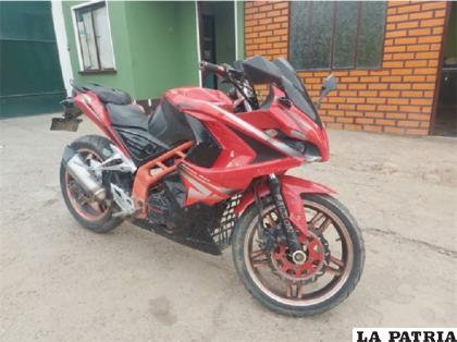 La moto recuperada en dependencias de la Policía /Cortesía
