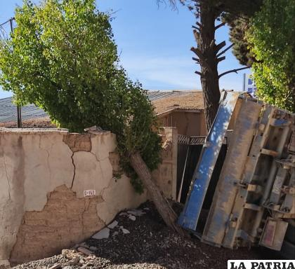 El camión hizo caer un árbol que dio contra el muro de la vivienda /LA PATRIA