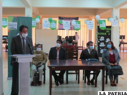 Acto de inauguración del centro masivo de vacunación de la Caja Nacional de Salud /CNS Oruro