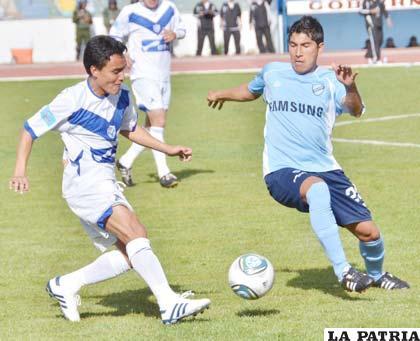 Loayza y Miranda en el partido ante Bolívar (0-0)