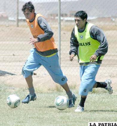 Franklin Herrera y Ronald Puma, en el entrenamiento