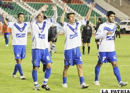 Jugadores de San José, celebran el empate