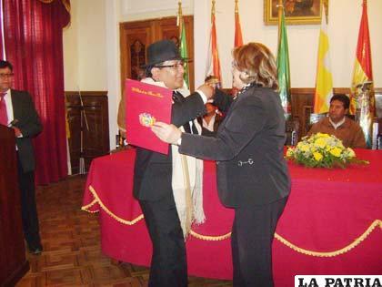 Distinción a la Morenada Central Oruro Fundada por la Comunidad Cocani, por su aporte a la Obra Maestra