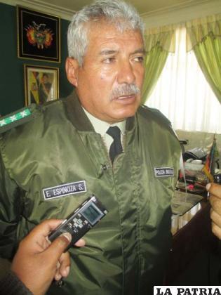 El comandante Departamental de Policía, coronel Edwin Espinoza