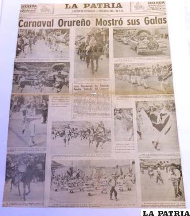 Carpetas encerrarán historia del Carnaval de Oruro contada a través de periódicos