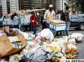 Las calles paceñas están llenas de basura /APG