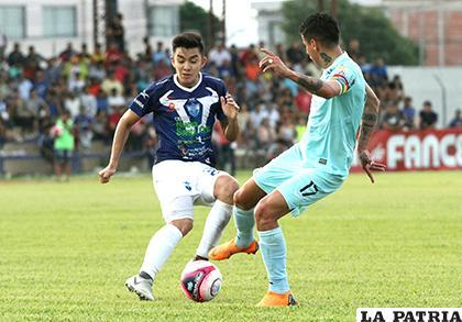 La acción del cotejo que terminó con victoria de Sport Boys 4-1 ante Bolívar / APG