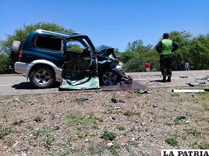 El vehículo particular quedó con daños de mucha consideración / Adalberto Montenegro