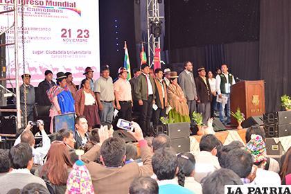 Presidente Evo Morales resaltó el trabajo de los productores camélidos de la región y el mundo entero /LA PATRIA