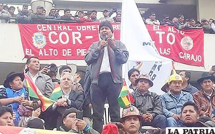 El Presidente habló en una concentración en San Francisco /Erbol