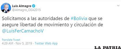 El secretario general de la OEA se pronunció por twitter sobre el cerco hecho al líder cívico en El Alto /Twitter
