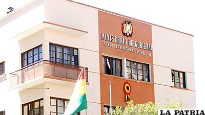 Frontis del Ministerio de Gobierno /MIN. GOB.