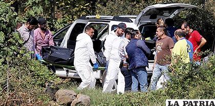 Forenses de la Policía mexicana retiran los cadáveres en el camino a Ocotillo, en México /AFP