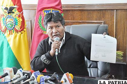 Víctor Hugo Vásquez asumió el mando de la Gobernación de Oruro en junio de 2015 /LA PATRIA/ARCHIVO