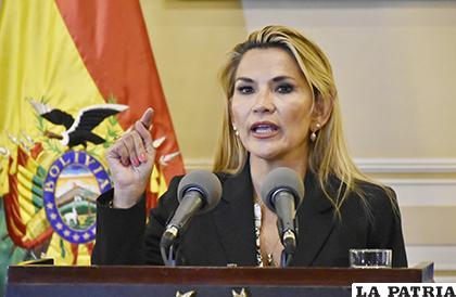 La Presidente interina Jeanine Áñez/APG
