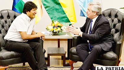 Evo Morales y el presidente electo de Argentina Alberto Fernández /caraotadigital.com